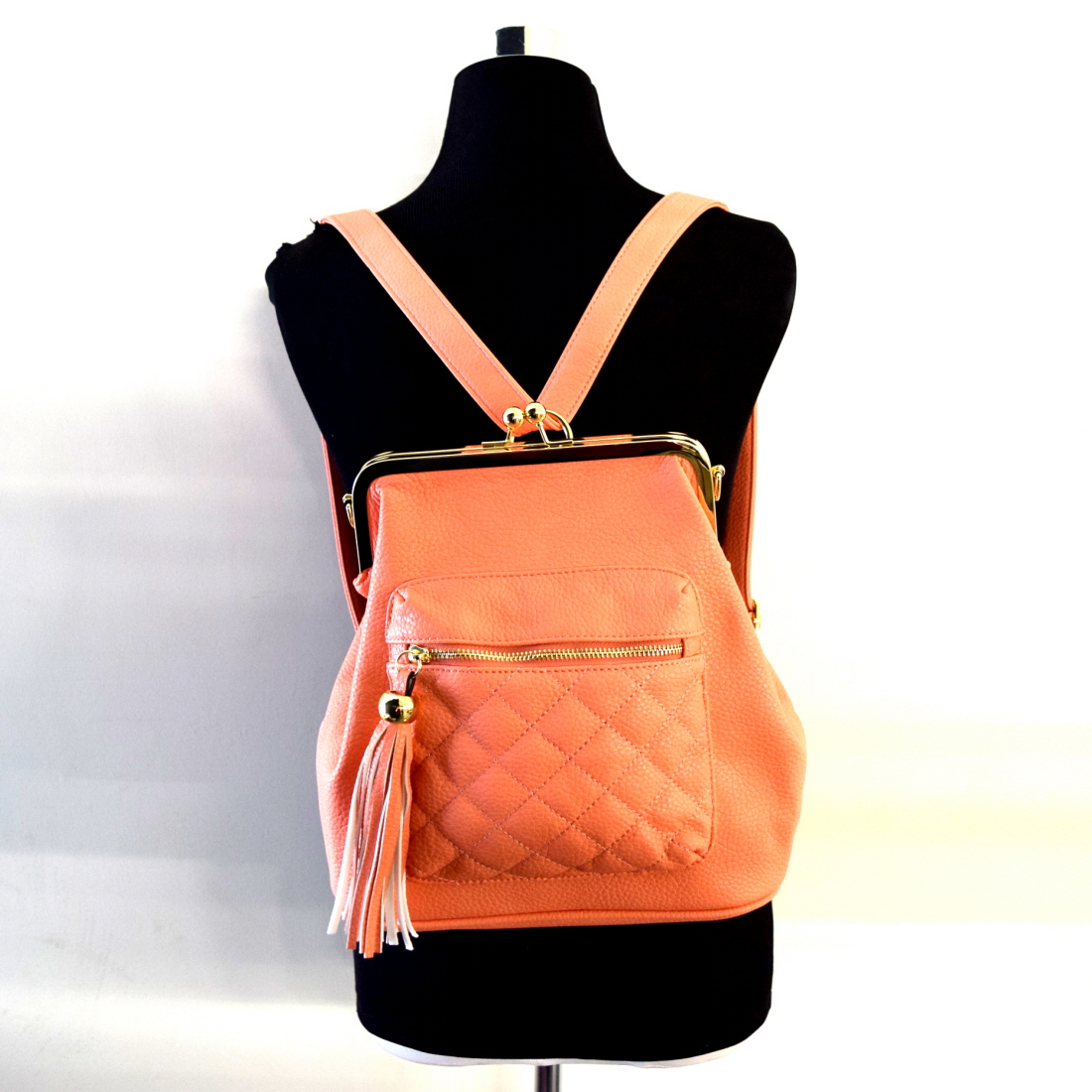 Quilted Backpack Purse Os Backpacks