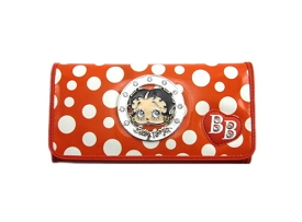 KFW1223 Polka Dot Rhinestone Betty Boop Checkbook Wallet Orange