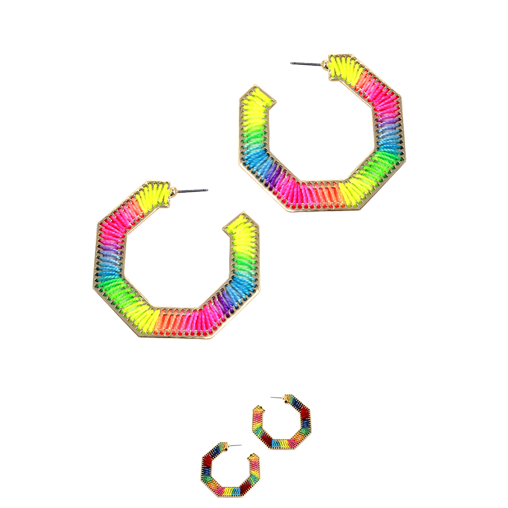 JCE1943 Mixed Neon Color Thread Open-cut Hoop Boho Earring