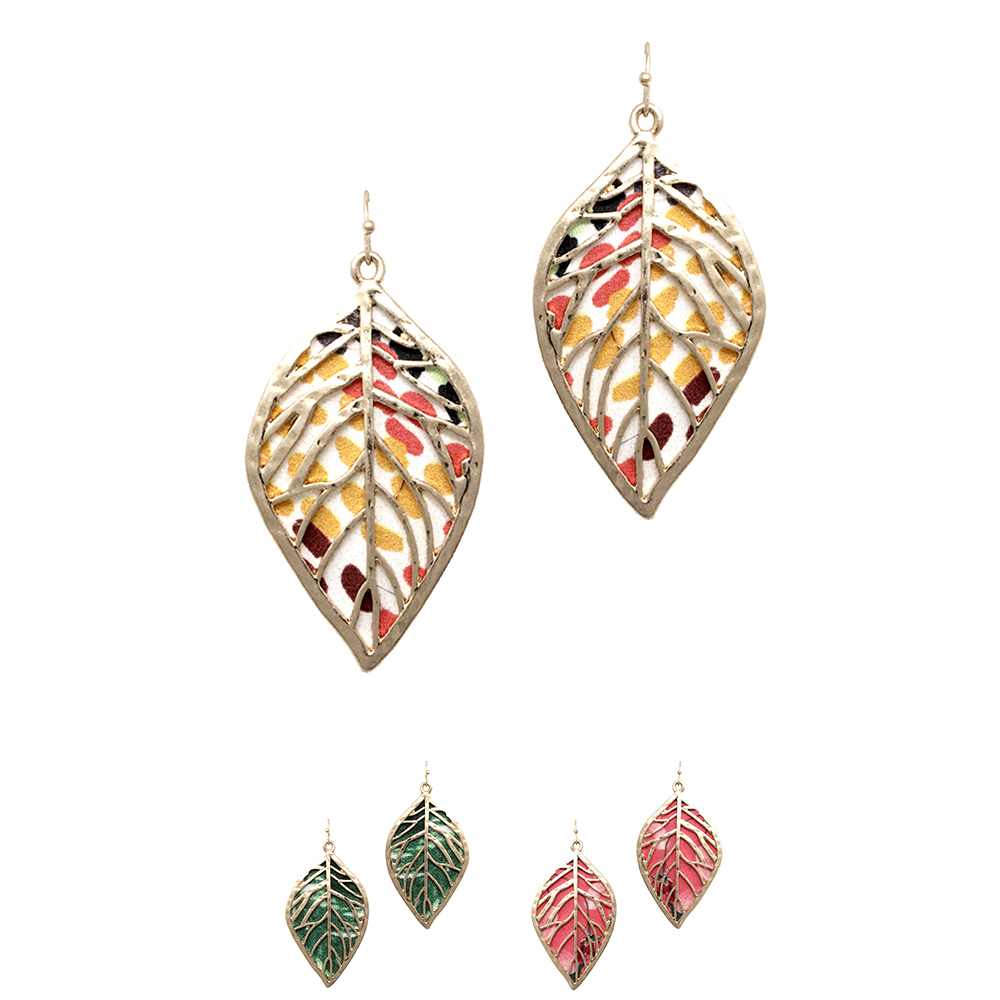 JCE1576 Printed Canvas Layer Metal Filigree Leaf Earring