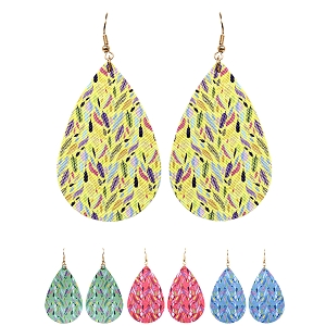 FER3172 Feather Pattern Print Canvas Teardrop Earring