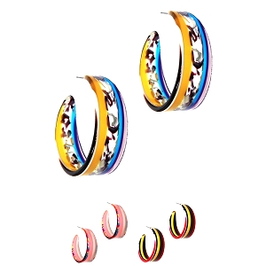 FER3180 Multicolored Retro Funky Striped Clear Acrylic Open-cut Hoop Earring