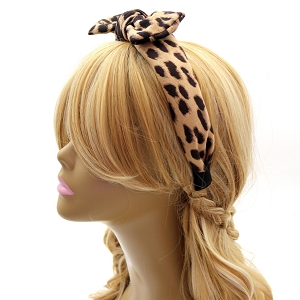 FH392 Felt-Suede Leopard Print Bow Accent Headband Brown