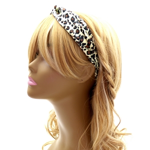 FH426 Vintage Leopard Print Twisted Fabric Elastic Headband