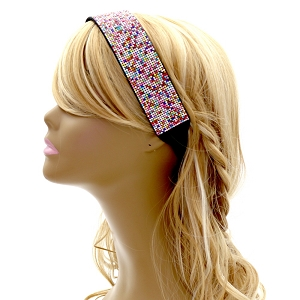 FH464 Rainbow Rhinestone Bling Elastic Retro Sporty Headband