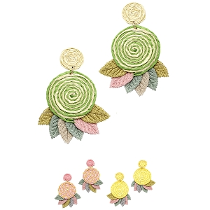 JCE1450 Handmade Rolled-up Straw 3D Flower Leaf Earring