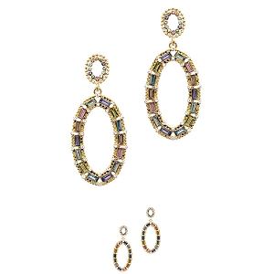 JCE1851-1 Baguette Rhinestone Open-cut Oval Dangle Earring