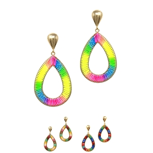 JCE1859 Mixed Neon Color Thread Open-cut Teardrop Boho Earring
