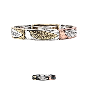 QB7762 Multicolored Carved Feather Metal Charm Stretch Boho Bracelet