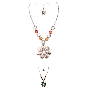 QNE14490 Multicolored Metal Bead Flower Pendant Chain Necklace SET