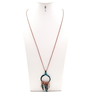 QNE14584 Multicolored Metal Feather Arrow Open-cut Round Long Necklace SET