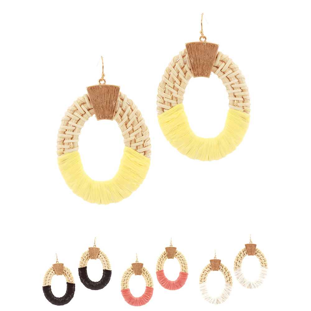 FE4005 Color Wrap Open-cut Natural Straw Oval Metal Earring