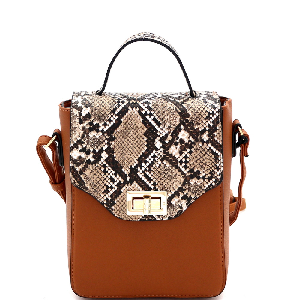 BJ5645K Snake Print Turn-Lock Accent 2-Way Small Satchel Tan/Brown
