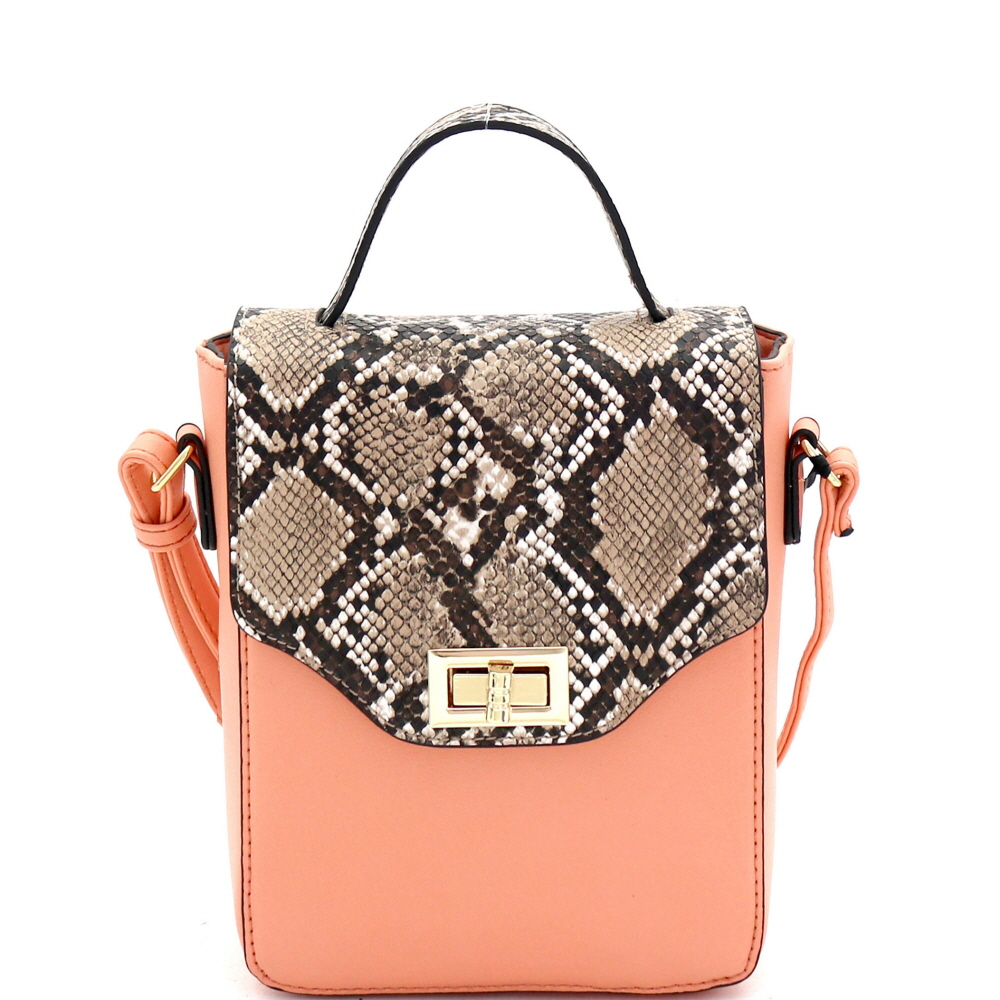 BJ5645K Snake Print Turn-Lock Accent 2-Way Small Satchel Coral/Brown