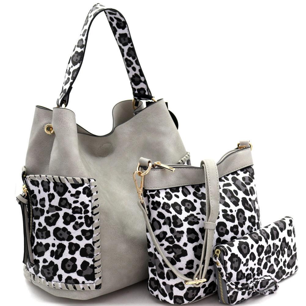 LF5037LT Whipstitched Side Pocket Leopard Print 3 in 1 Hobo Wallet SET Light-Gray/White
