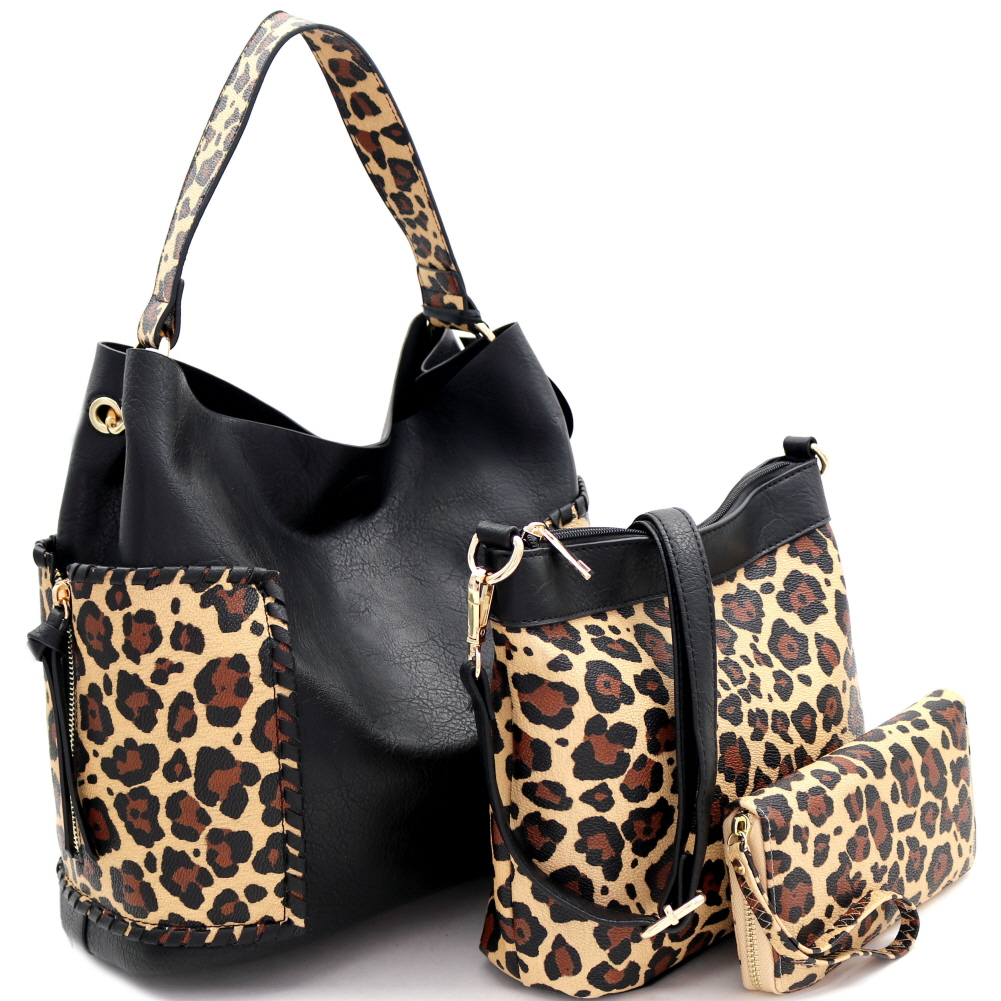 LF5037LT Whipstitched Side Pocket Leopard Print 3 in 1 Hobo Wallet SET Black/Tan