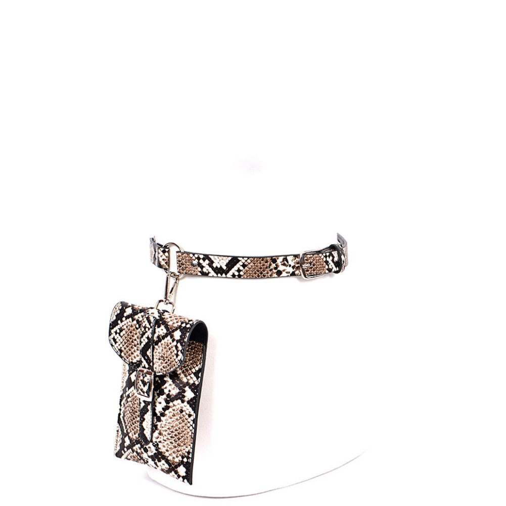 PB7697 Glow in the Dark Luminescent Snake Print Dangle Fanny Pack with Belt Beige