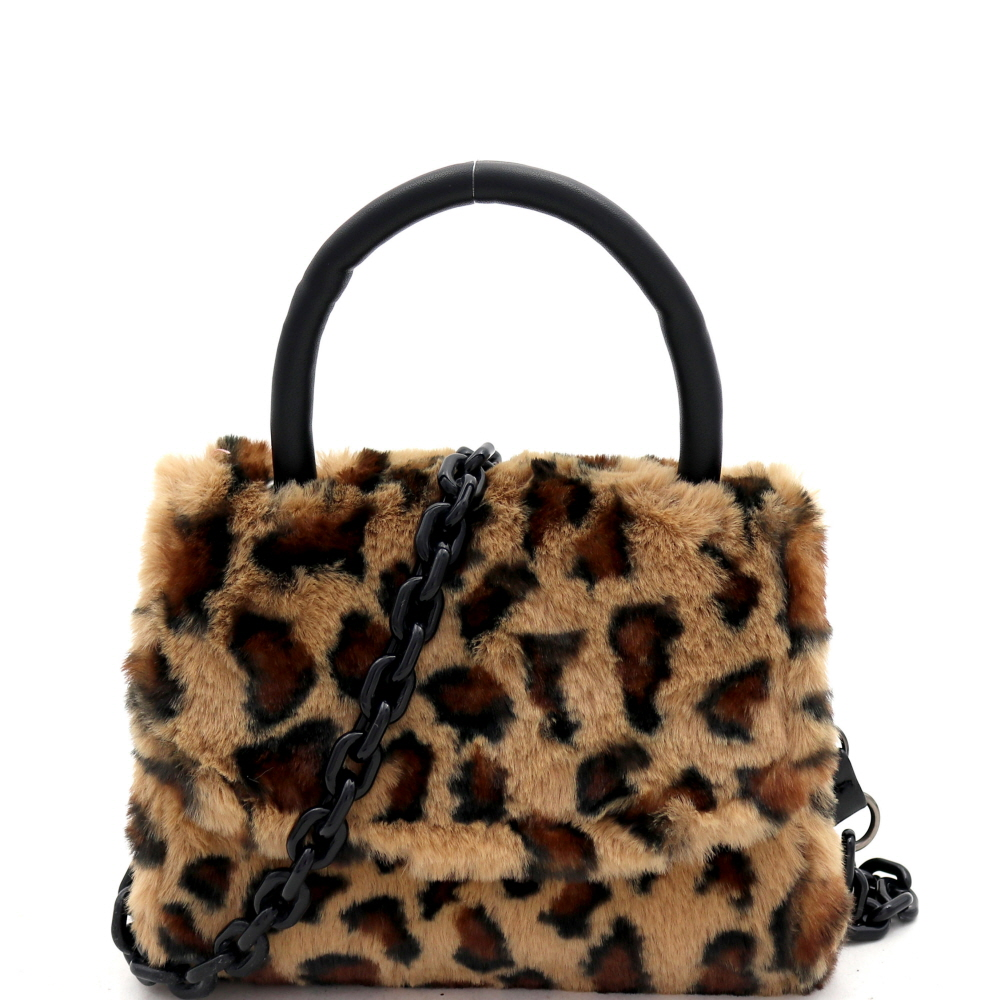 PPC7180 Leopard Print Faux-Fur Top-Handle Small Flap Satchel with Plastic Chain Strap
