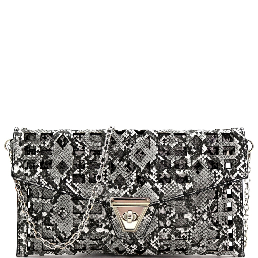 PPC7218 Snake Print Laser-cut 2 in 1 Turn-Lock Clutch with Chain Strap Black