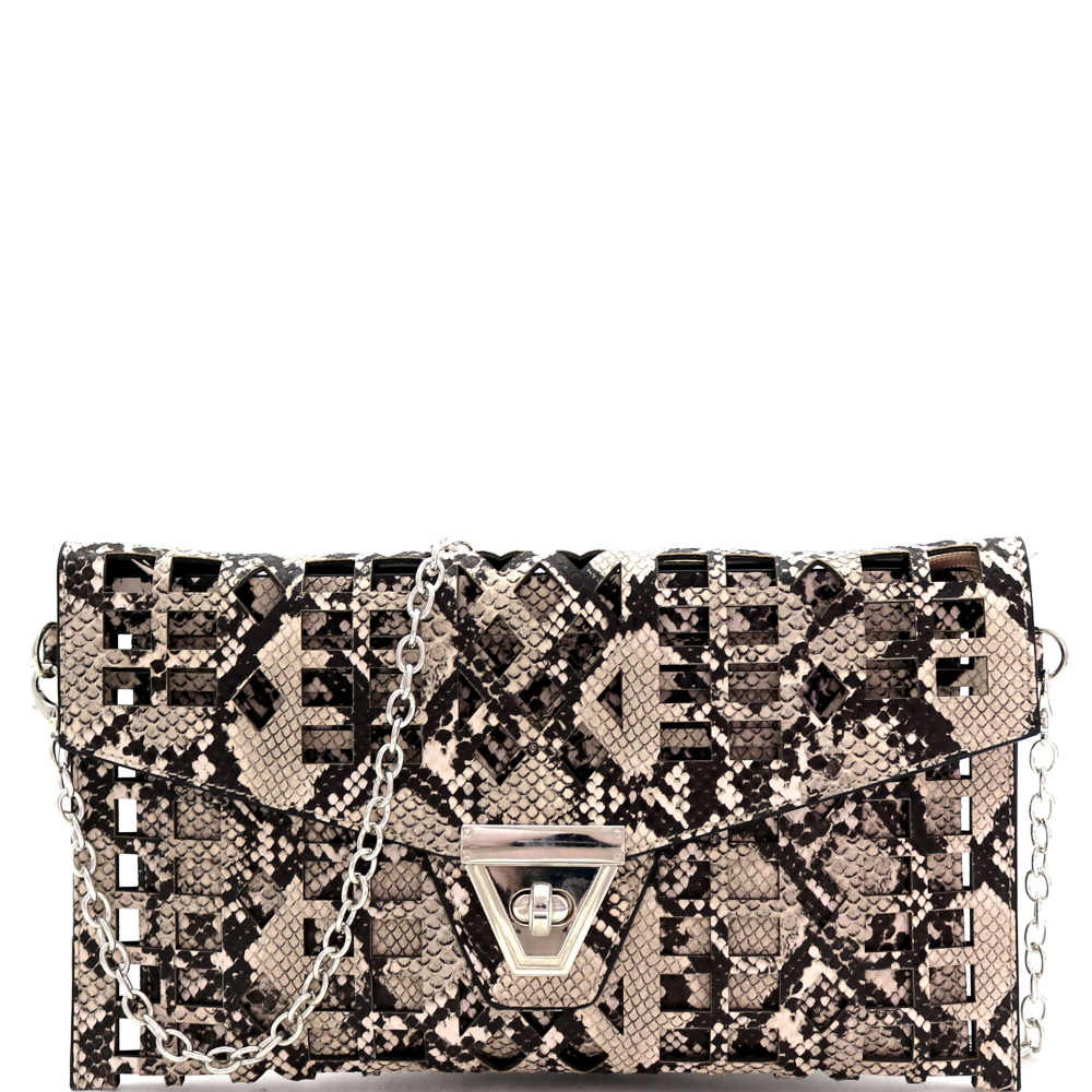 PPC7218 Snake Print Laser-cut 2 in 1 Turn-Lock Clutch with Chain Strap Beige