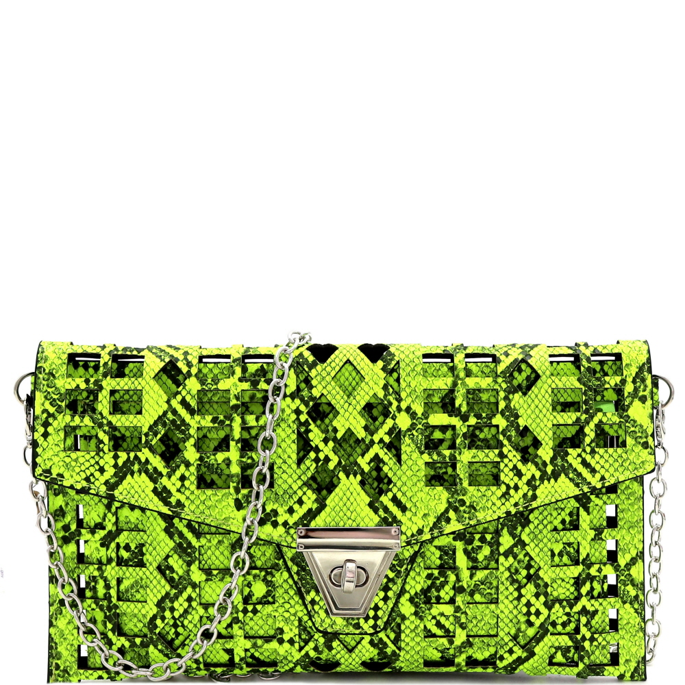PPC7218 Snake Print Laser-cut 2 in 1 Turn-Lock Clutch with Chain Strap Yellow