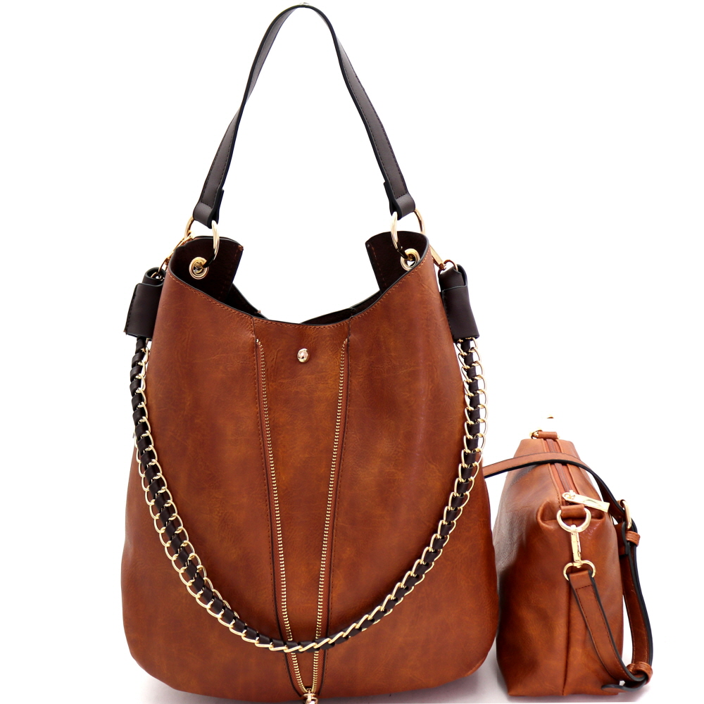 B0168 Chain Accent 2 in 1 Expendable Hobo Brown-2
