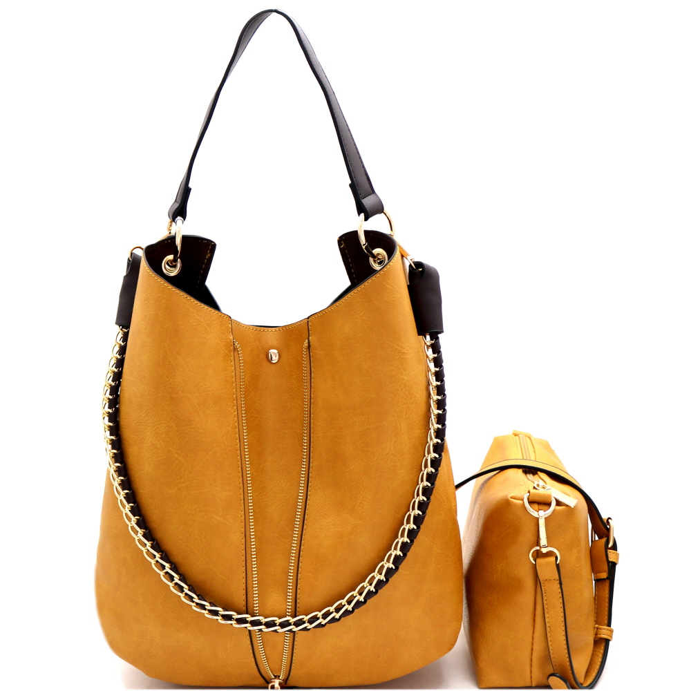 B0168 Chain Accent 2 in 1 Expendable Hobo Tan