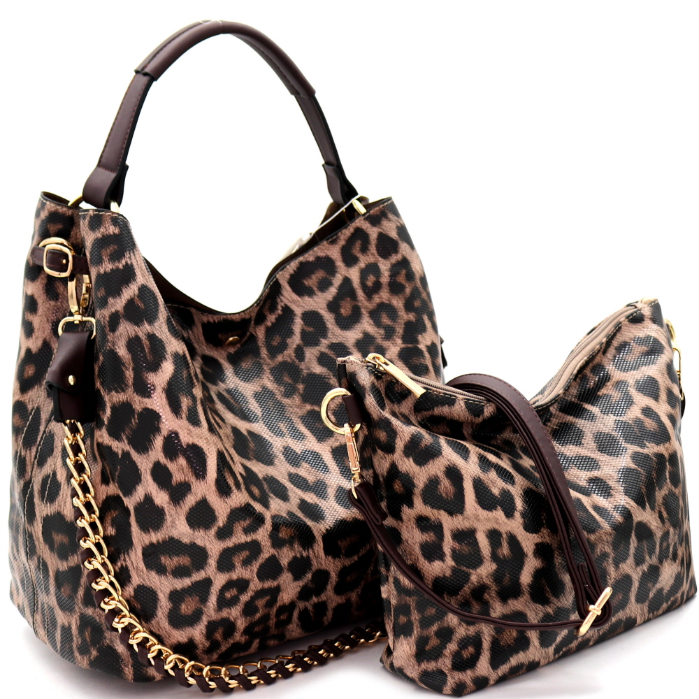 D0273 Chain Accent Leopard Print 2 in 1 Hobo Tan