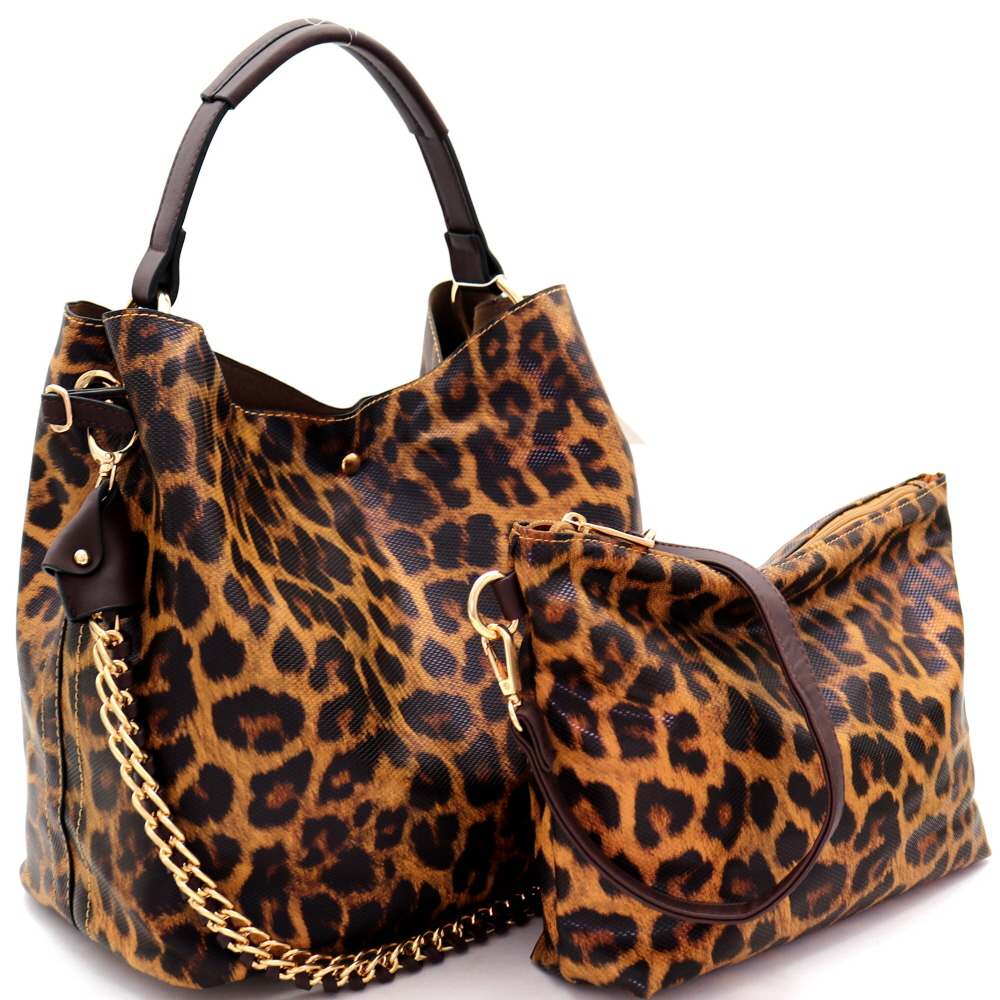 D0273 Chain Accent Leopard Print 2 in 1 Hobo Brown