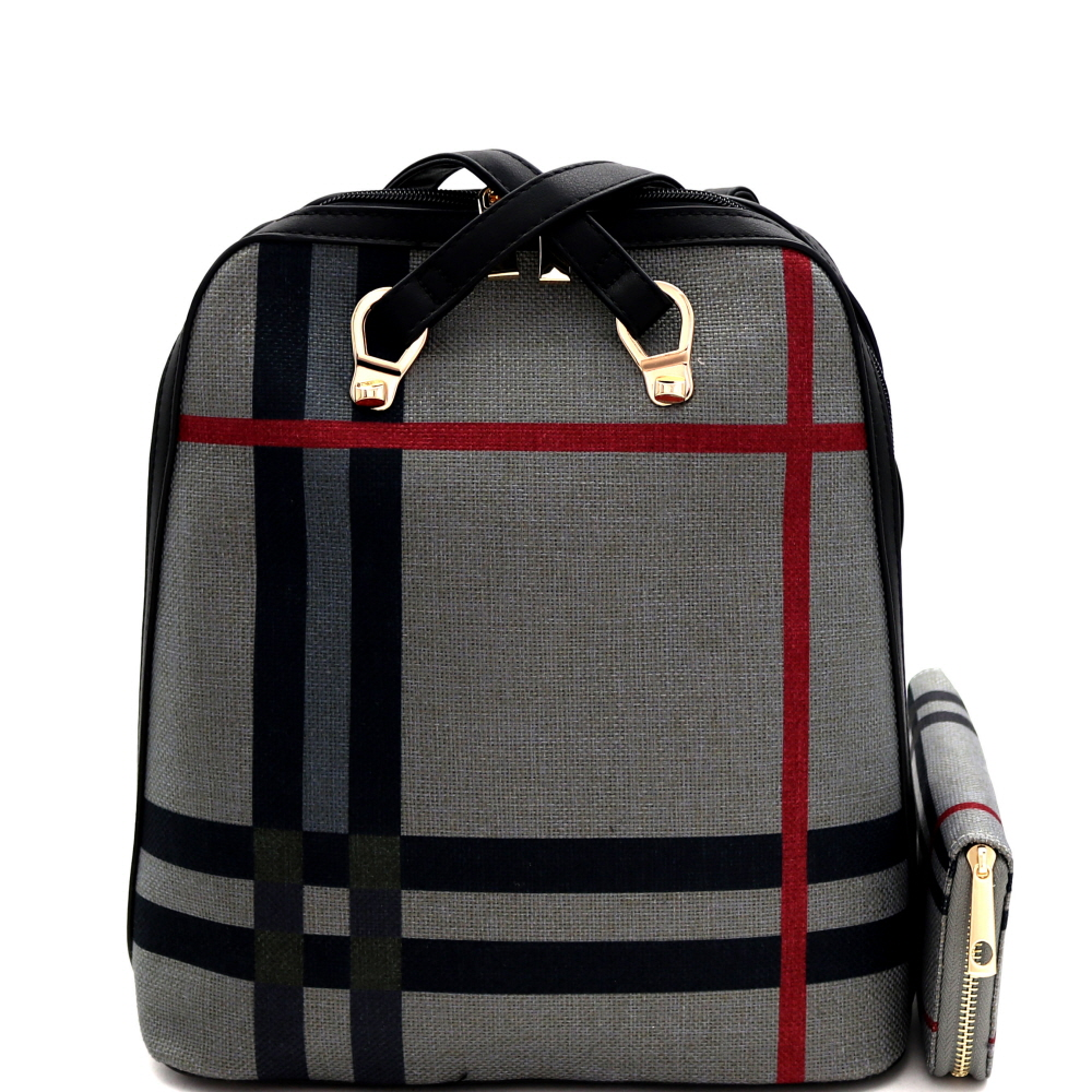 L0220W Plaid Checker Print Linen Convertible Backpack Wallet SET Multi-2 (Gray)