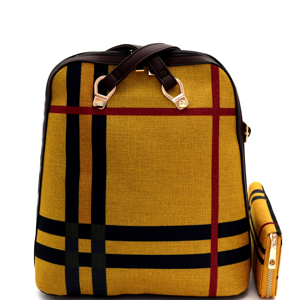 L0220W Plaid Checker Print Linen Convertible Backpack Wallet SET Multi-5 (Mustard)