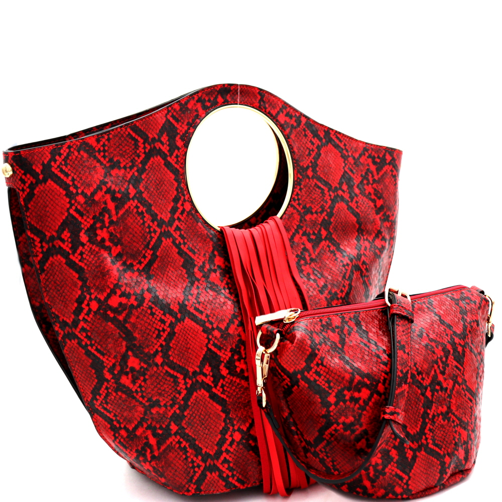 L0221 Fringed Snake Print 2 in 1 Round Handle Satchel Red