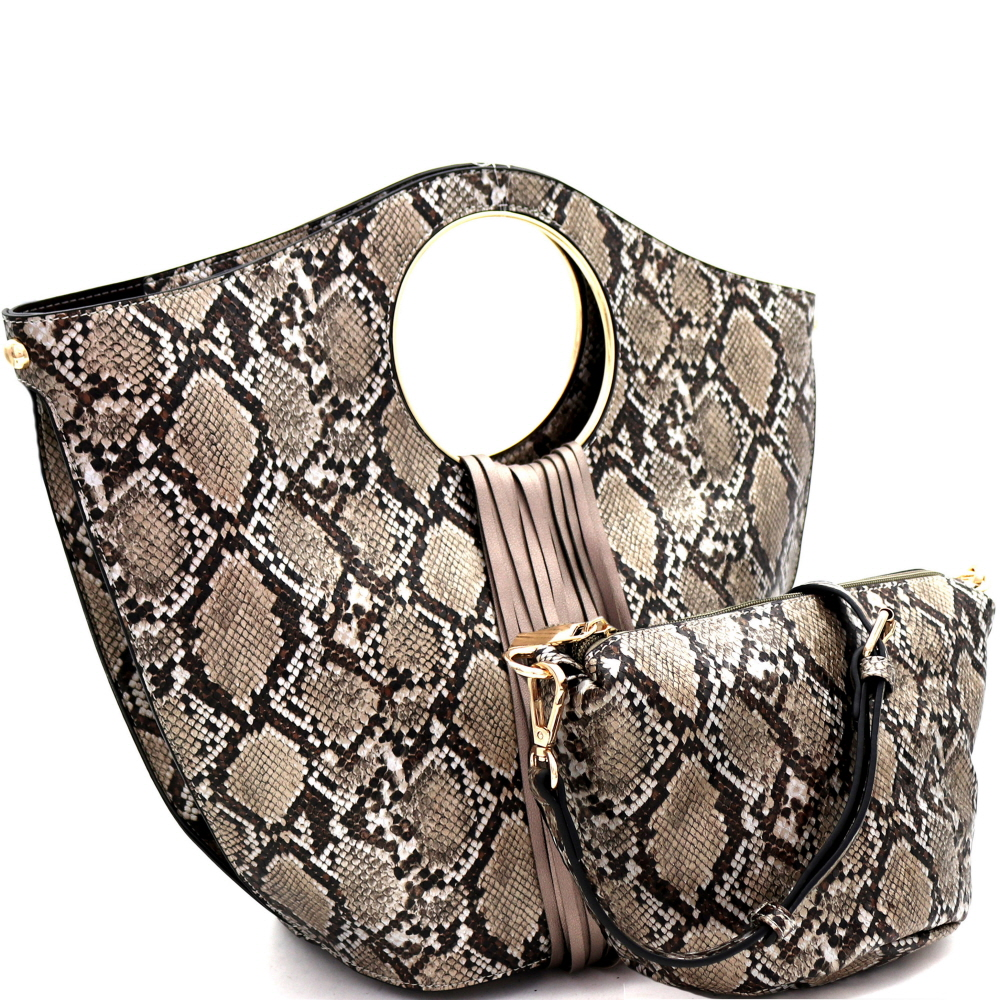 L0221 Fringed Snake Print 2 in 1 Round Handle Satchel Bronze