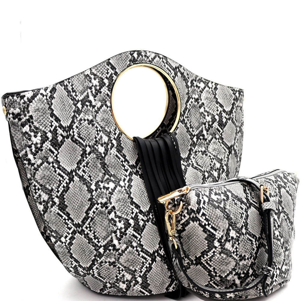 L0221 Fringed Snake Print 2 in 1 Round Handle Satchel Black