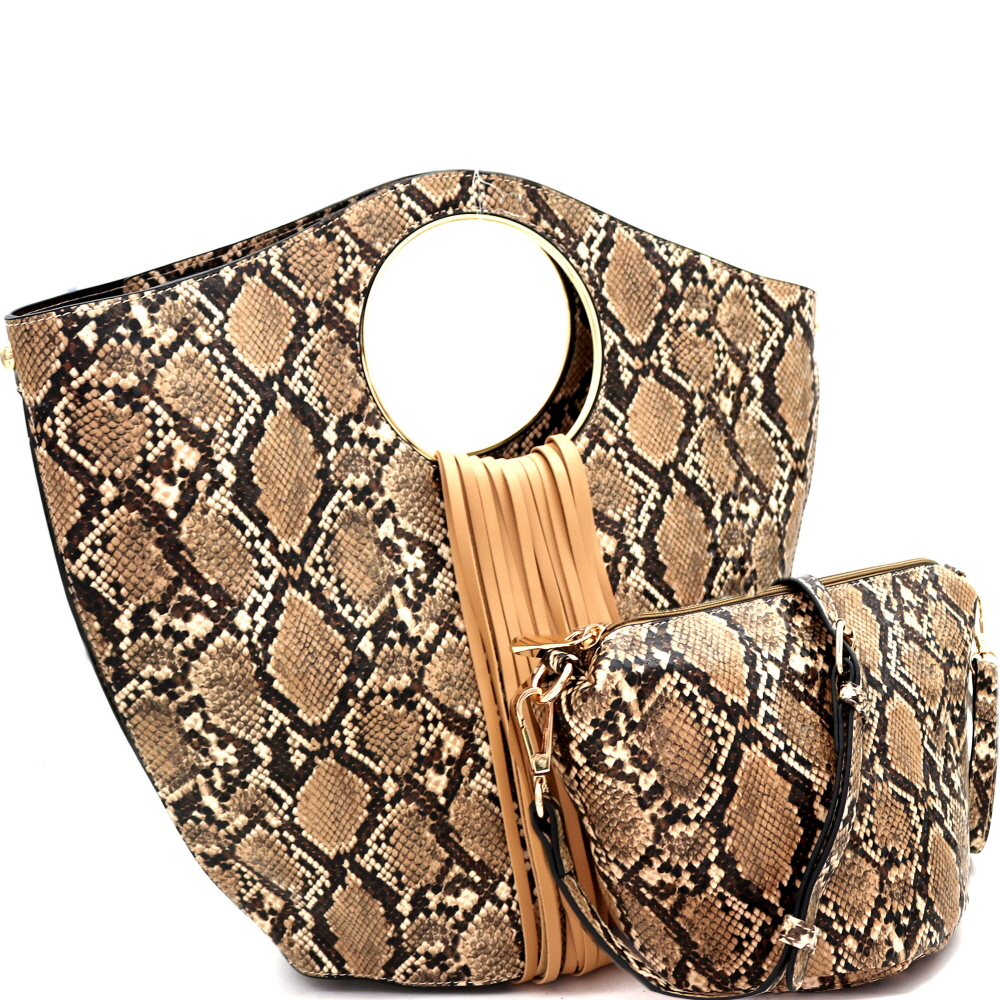 L0221 Fringed Snake Print 2 in 1 Round Handle Satchel Taupe