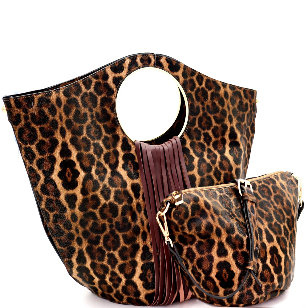 L0222 Fringed Leopard Print 2 in 1 Round Handle Satchel Coffee