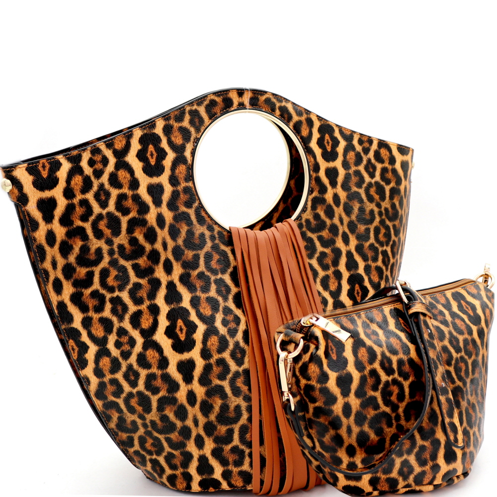 L0222 Fringed Leopard Print 2 in 1 Round Handle Satchel Brown