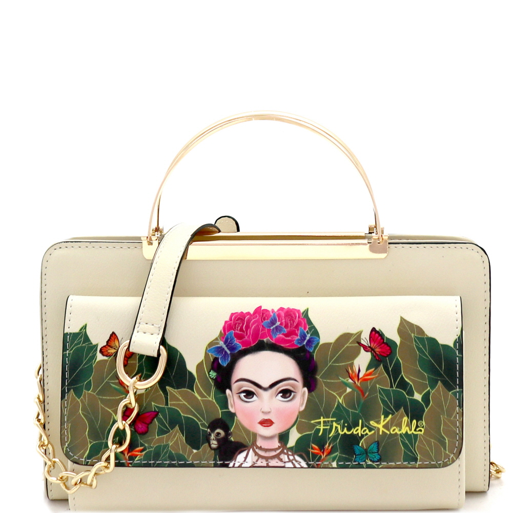 FJC900 Authentic Cartoon Version Frida Kahlo Wallet Cross Body Black