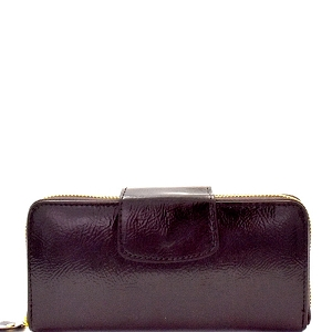 ZIP001 Zip Around Patent Faux Leather Wallet Coffee