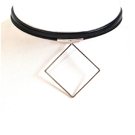 AMN3001 Thin Choker Necklace With Diamond Silver