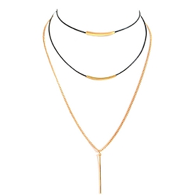 AMN3003 Simple Thin Multi Layer Choker Necklace With Bars Black-Gold