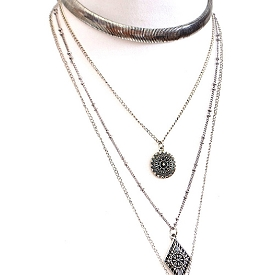 AMN3043 Multi Layered Aztec Theme Inspired Choker Necklace Antique-Silver