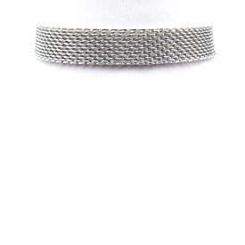 AMN3056 Meshed Chain Choker Necklace Silver