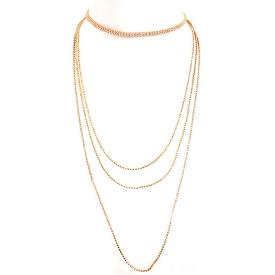 AMN3077 Rhinestone Multi Layer Thin Long Choker Necklace Gold