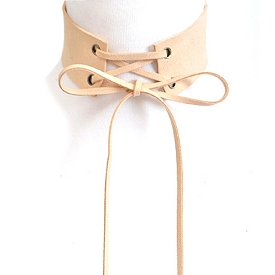 AMN3101 Long Corset Thick Choker Necklace Nude