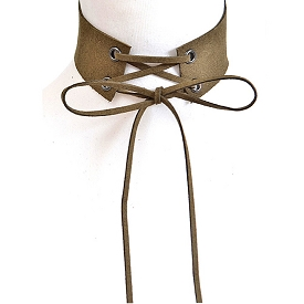 AMN3101 Long Corset Thick Choker Necklace Olive