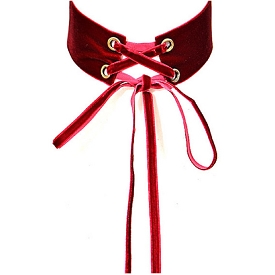 AMN3104 Velvet Long Corset Think Choker Necklace Burgundy