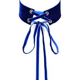 AMN3104 Velvet Long Corset Think Choker Necklace Cobalt