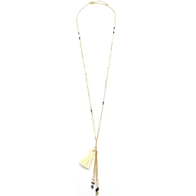 CON7085 Tassel Accent Bead Chain Long Necklace White