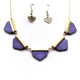 COS7080 Semi Precious Necklace SET Purple